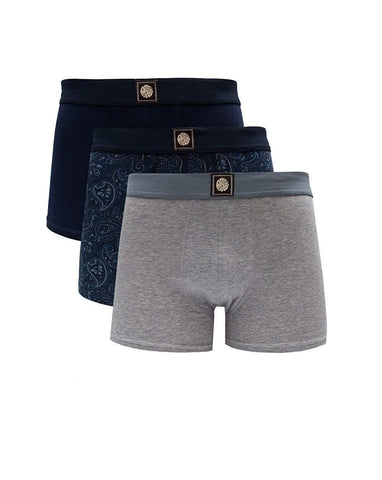 Pretty Green 3 Pack Boxer Shorts in Navy Underwear Pretty Green