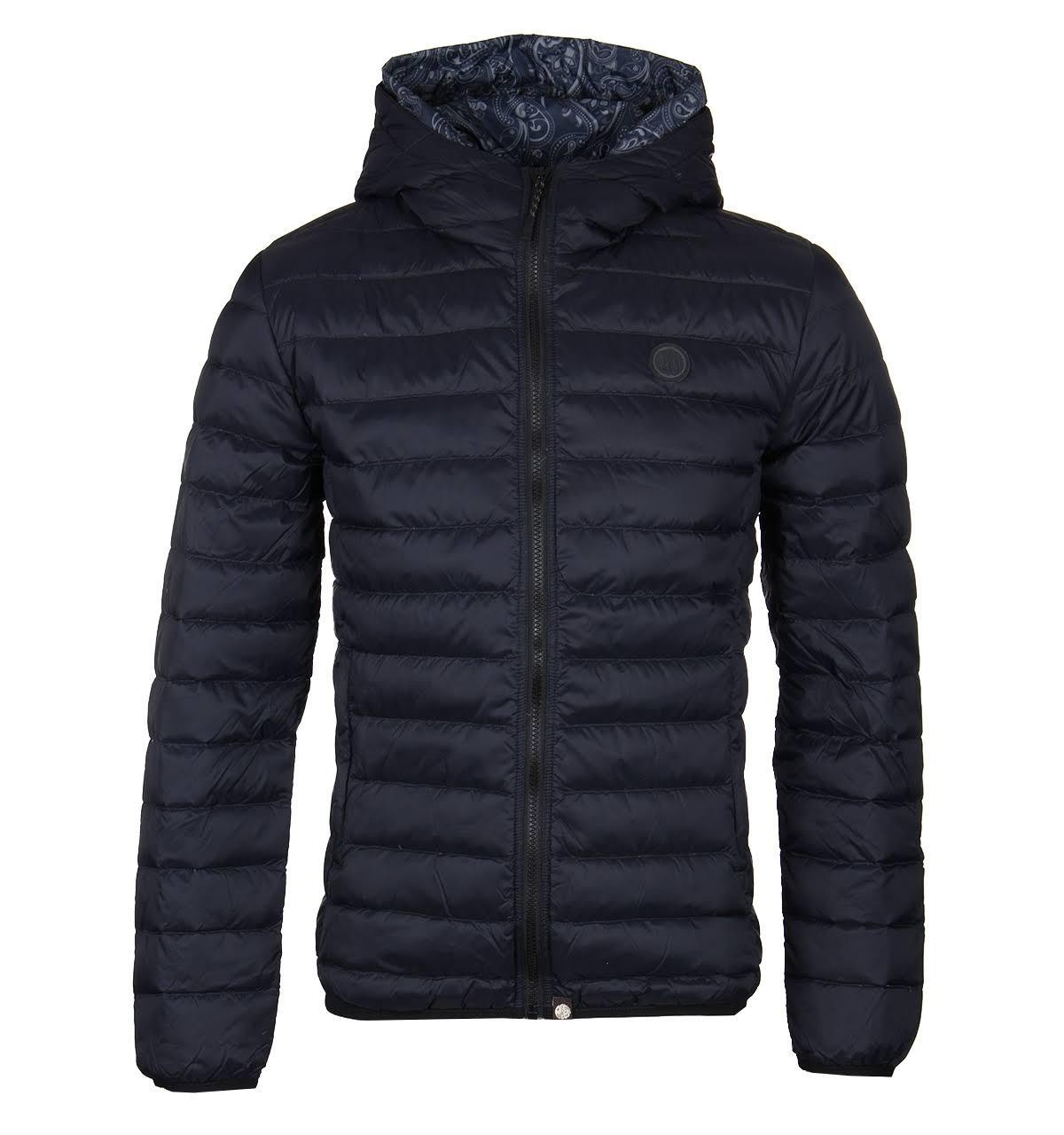 Pretty Green Lightweight Quilted Hooded Jacket in Black
