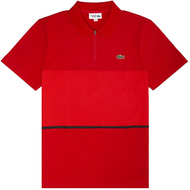 Lacoste Sport Quatre Zip Polo in Red/ Black