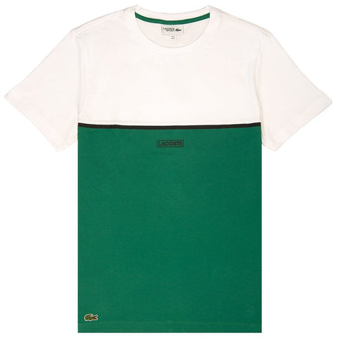 Lacoste Sport 3D Colourblock 3D Lettering T-Shirt in White/ Green T-Shirts Lacoste