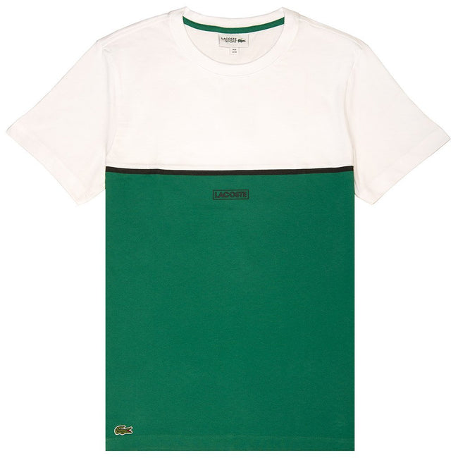 Lacoste Sport 3D Colourblock 3D Lettering T-Shirt in White/ Green