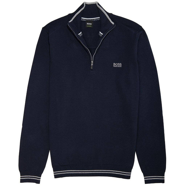 BOSS Athleisure Zimex Cotton Blend 1/4 Zip in Navy Jumpers BOSS
