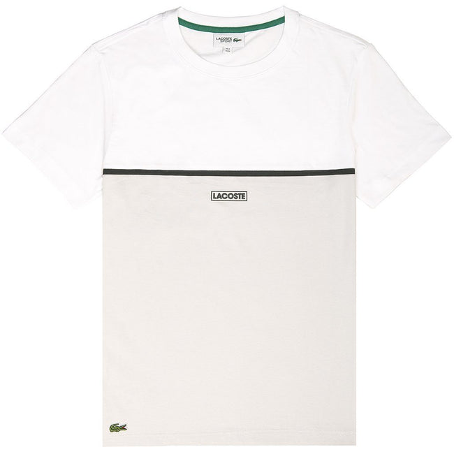 Lacoste Sport T-Shirt in White/ Grey/ Cream