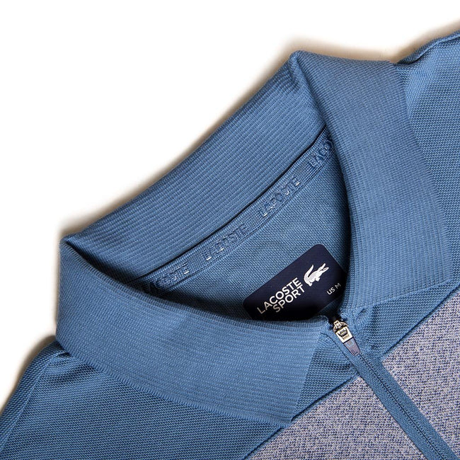 Lacoste Sport Quarter-Zip Polo in Blue/ Navy