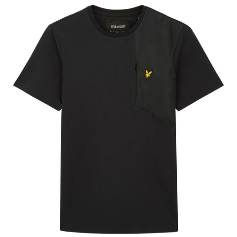 Lyle & Scott Casuals Fabric MIx T-Shirt in True Black T-Shirts Lyle & Scott