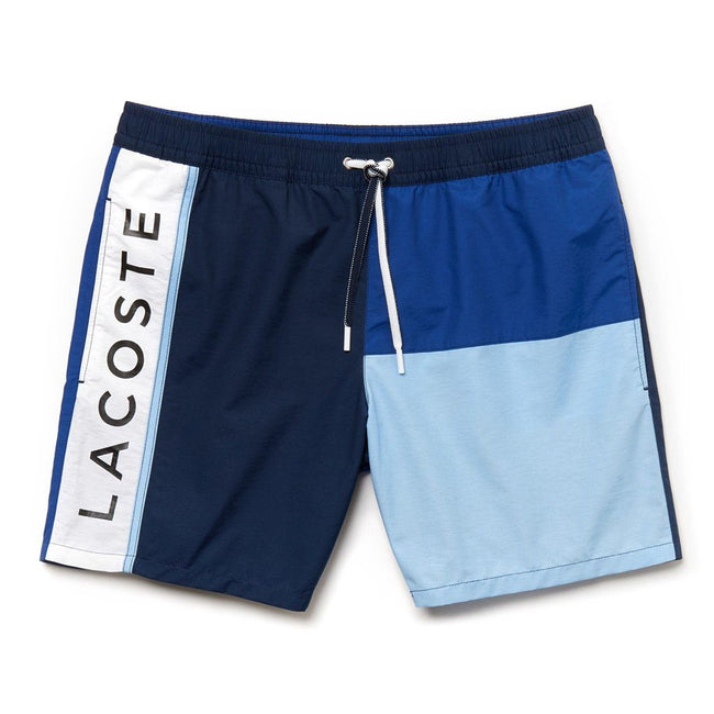 Lacoste MH4768-7GA Colourblock Taffeta Swimming Trunks in Navy Blue/ Navy