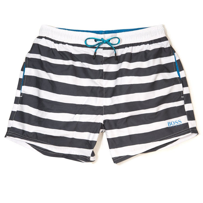 dbd21bfb BOSS Athleisure Scorpionfish Swim Shorts in Black / White Stripes Swimwear  BOSS