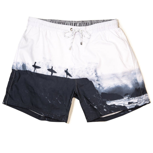 BOSS Athleisure Springfish Photo Print Swim Shorts in Open White Swimwear BOSS