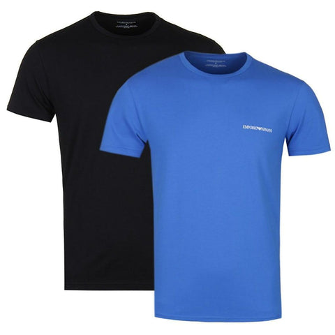 Emporio Armani 2 Pack Crew Neck T-Shirt in Black/ Blue T-Shirts Emporio Armani