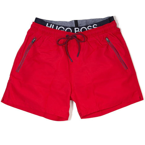 BOSS Athleisure Thornfish Swim Shorts in Red Swimwear BOSS