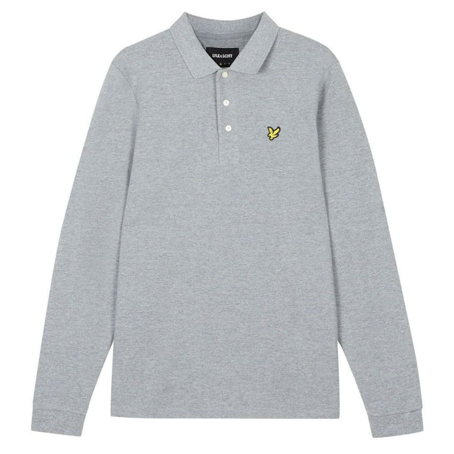Lyle & Scott Long Sleeve Polo Shirt in Mid Grey Marl