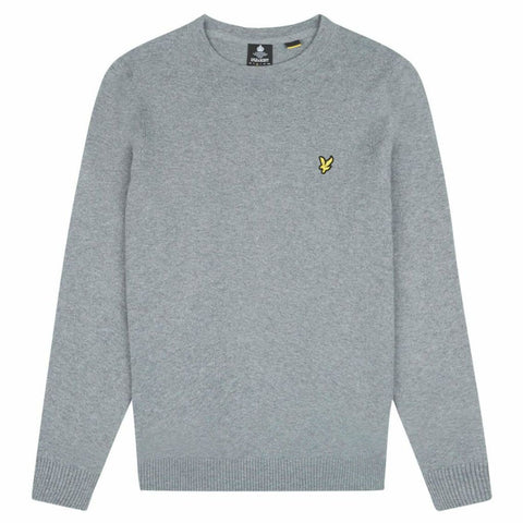 Lyle & Scott Cotton Merino Jumper Mid Grey Marl Jumpers Lyle & Scott