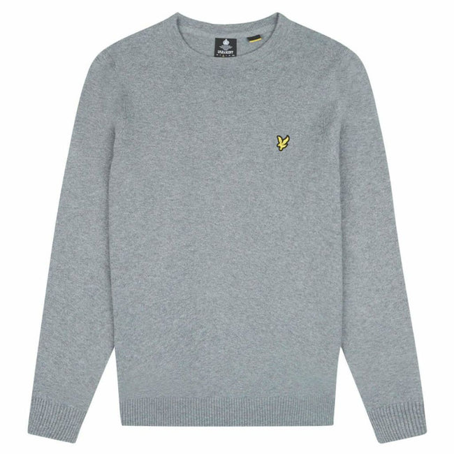 Lyle & Scott Cotton Merino Jumper Mid Grey Marl