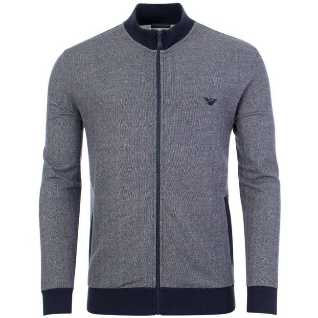 Emporio Armani Full Zip Lounge Sweater in Marine Blue sweatshirt Emporio Armani