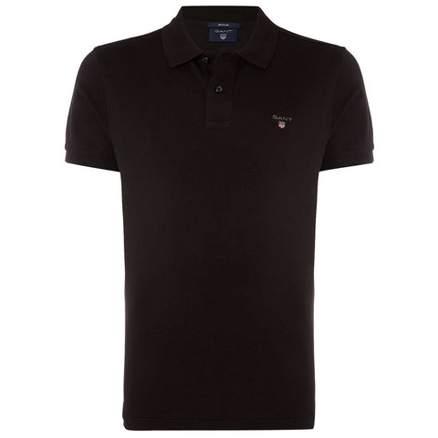 Gant Original Pique Short Sleeved Rugger Polo in Black Polo Shirts Gant