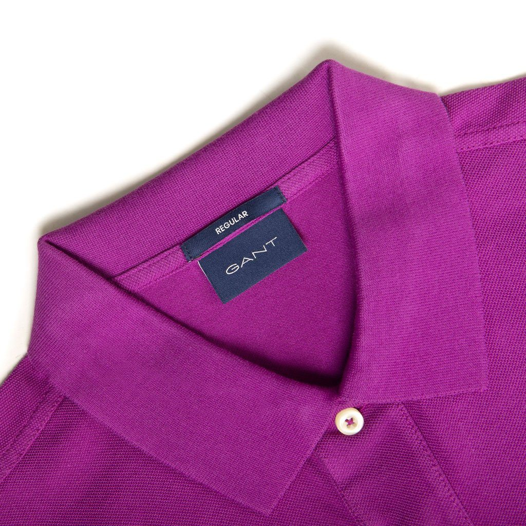 Gant Original Pique Short Sleeved Rugger Polo In Purple