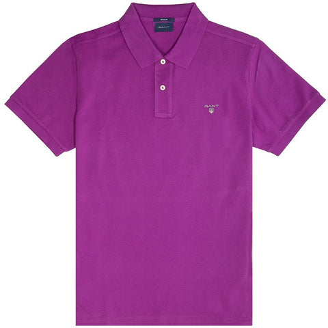 Gant Original Pique Short Sleeved Rugger Polo In Purple Polo Shirts Gant
