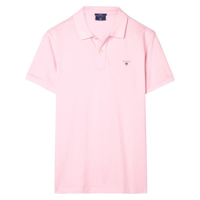 Gant Original Pique Short Sleeved Rugger Polo In California Pink Polo Shirts Gant