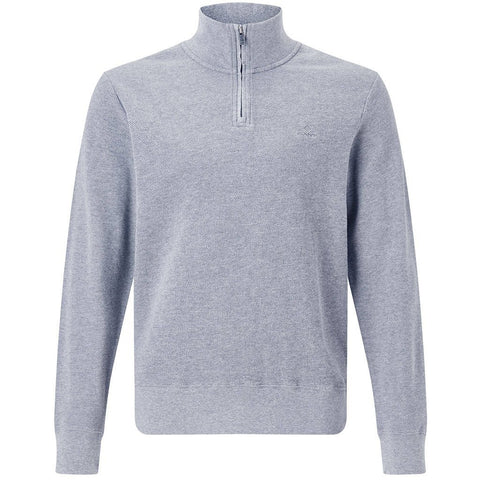 Gant Honeycomb Half Zip Sweater in Grey Melange Jumpers Gant
