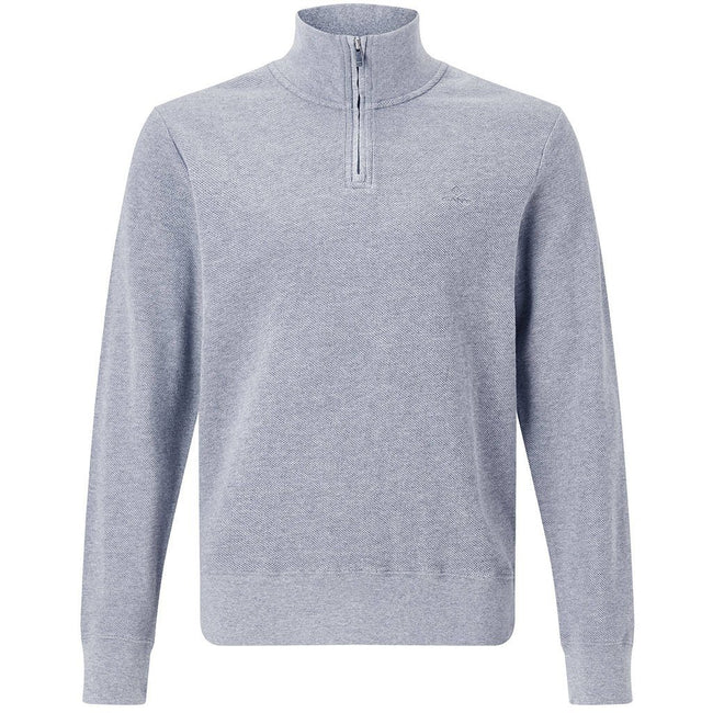 Gant Honeycomb Half Zip Sweater in Grey Melange