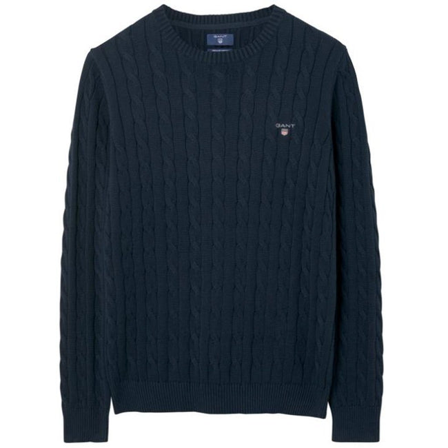 Gant Cotton Cable Crew Neck Jumper in Evening Blue
