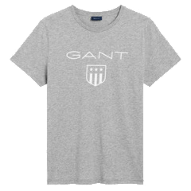 Gant Short Sleeved Printed Shield T-Shirt in Grey Melange T-Shirts Gant