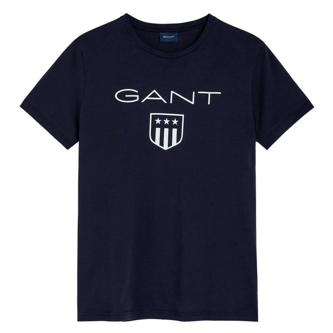 Gant Short Sleeved Printed Shield T-Shirt In Evening Blue