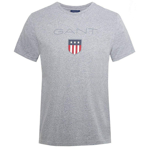 Gant Short Sleeved Coloured Shield T-Shirt in Grey Melange T-Shirts Gant