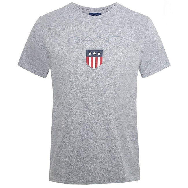 Gant Short Sleeved Coloured Shield T-Shirt in Grey Melange