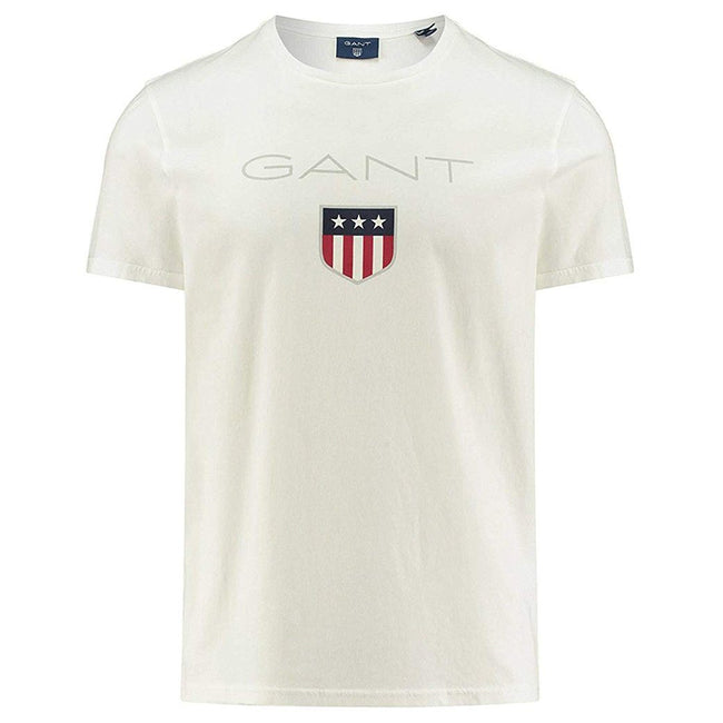 Gant Short Sleeved Coloured Shield T-Shirt In Eggshell