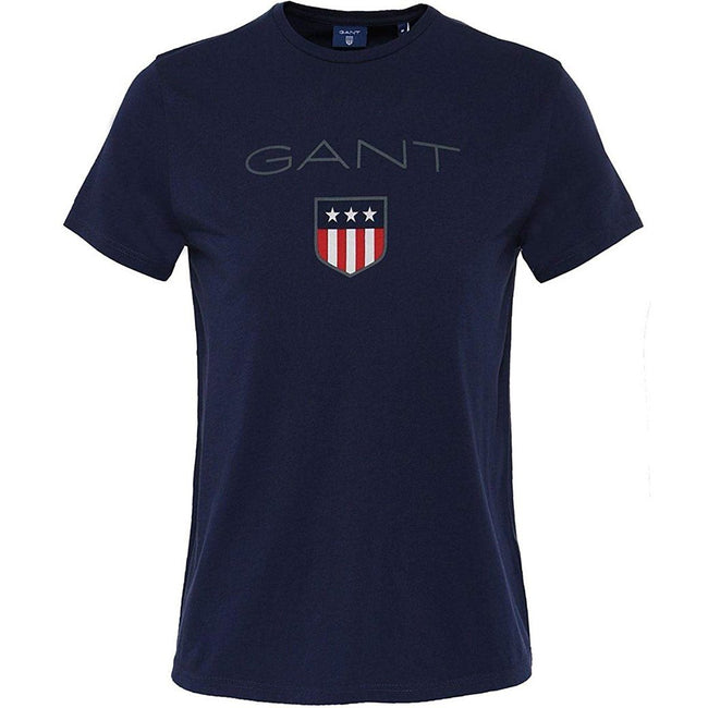 Gant Short Sleeved Coloured Shield T-Shirt In Evening Blue T-Shirts Gant