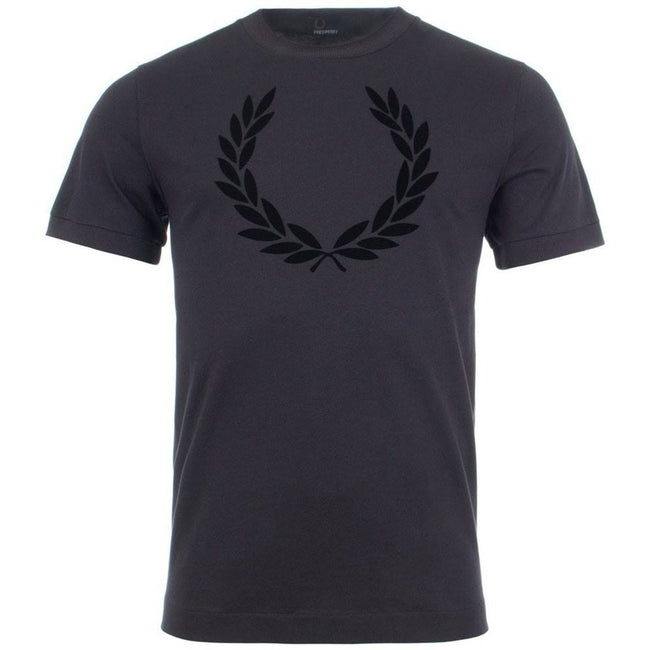 Fred Perry M5591 Lauren Wreath Textured T-Shirt in Black