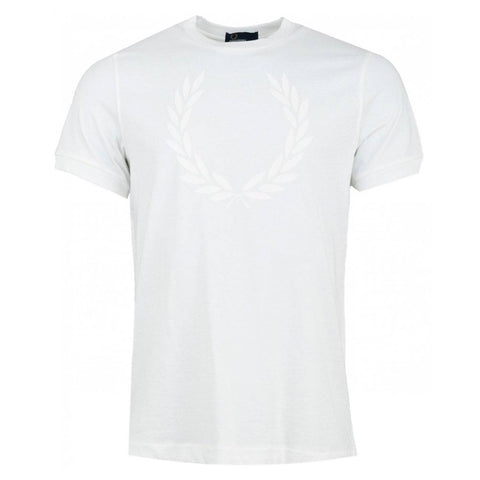 Fred Perry M5591 Lauren Wreath Textured T-Shirt In White T-Shirts Fred Perry