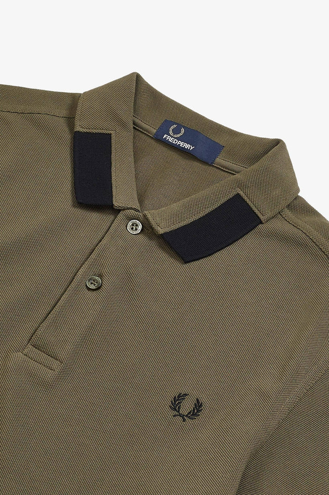 Fred Perry M5575 Block Tipped Pique Polo Shirt in Iris Leaf
