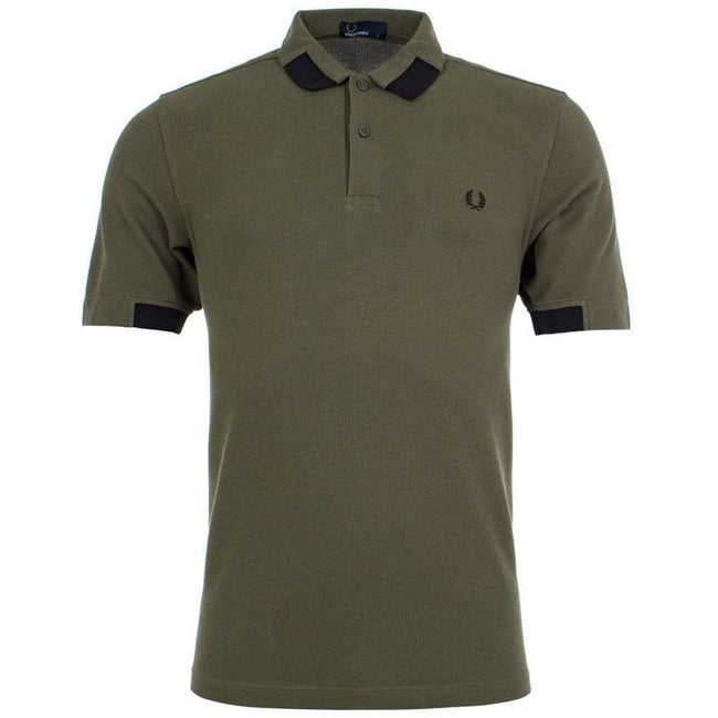 Fred Perry M5575 Block Tipped Pique Polo Shirt in Iris Leaf Polo Shirts Fred Perry