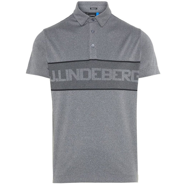 J. Lindeberg M Ade Reg Fit TX Jaquard Polo Shirt in Dark Grey