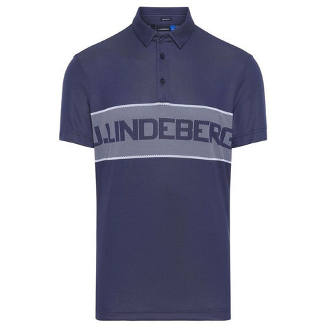 J. Lindeberg M Ade Reg Fit TX Jaquard Polo Shirt in JL Navy Polo Shirts J. Lindeberg