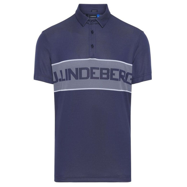 J. Lindeberg M Ade Reg Fit TX Jaquard Polo Shirt in JL Navy