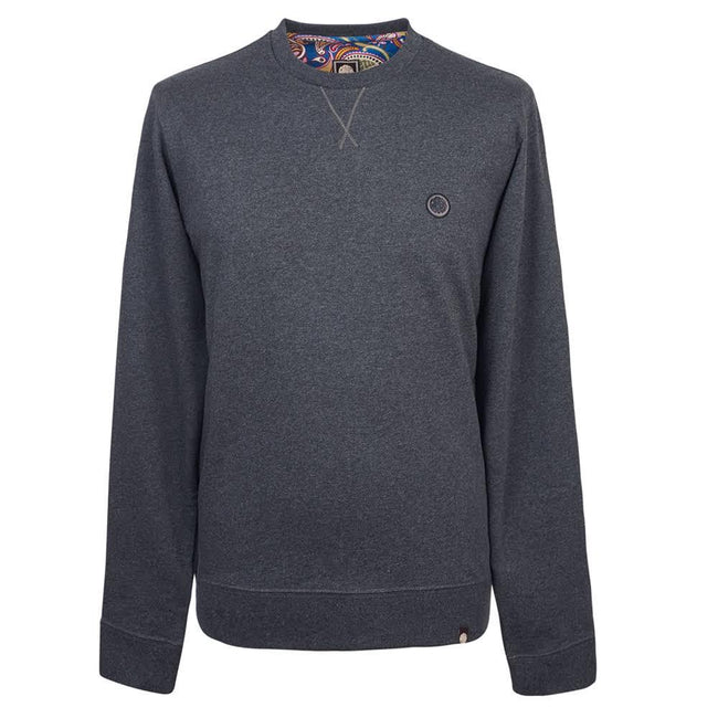 Pretty Green Loopback Cotton Crew Neck Sweater in Grey Marl