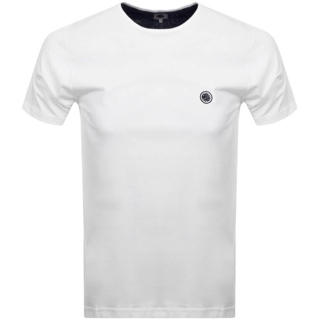 Pretty Green Cotton T-Shirt in White/ Navy