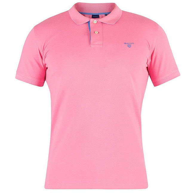 Gant Contrast Collar Pique Rugger Polo in Pink Rose
