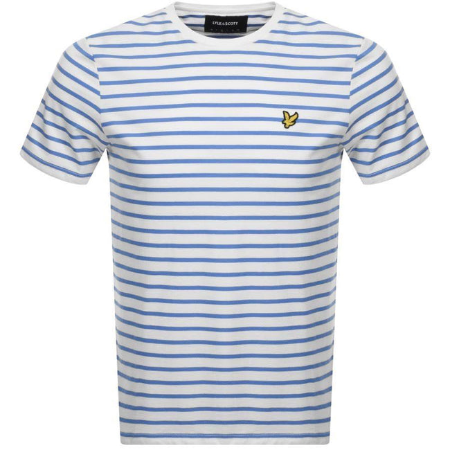 Lyle & Scott Breton Stripe T-Shirt in Snow White/Cornflower Blue