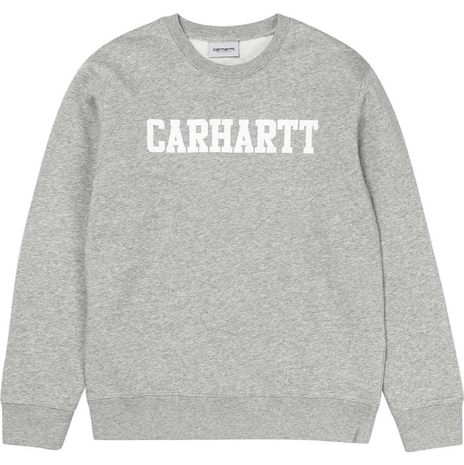 Carhartt College Sweatshirt In Grey Heather/ White