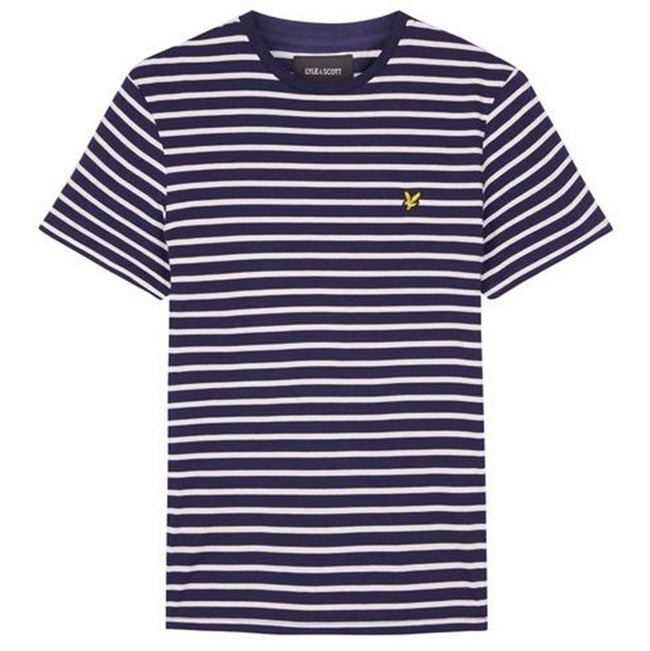 Lyle & Scott Breton Stripe T-Shirt in Navy/Snow White