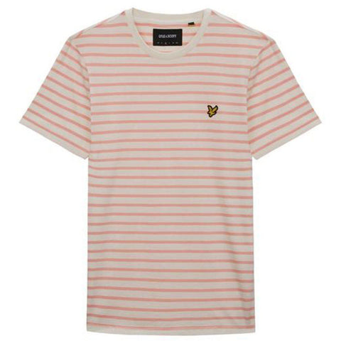 Lyle & Scott Breton Stripe T-Shirt in Snow White/Coral Way T-Shirts Lyle & Scott