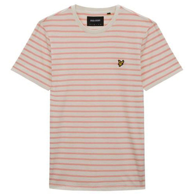 Lyle & Scott Breton Stripe T-Shirt in Snow White/Coral Way