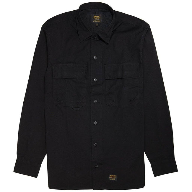 Carhartt WIP Long Sleeved Laxford Shirt in Black Rinsed Shirts Carhartt
