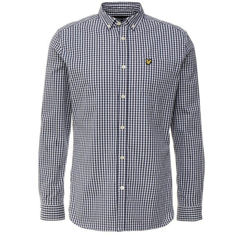 Lyle & Scott Slim Fit Gingham Shirt in Navy Shirts Lyle & Scott