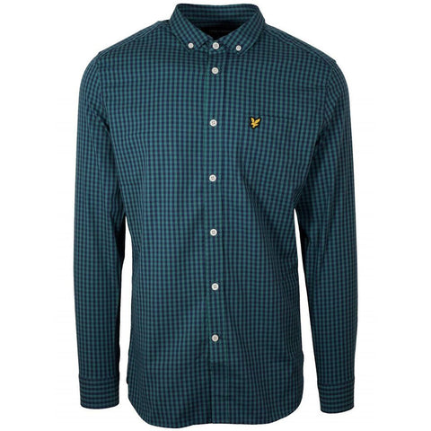 Lyle & Scott Slim Fit Gingham Shirt in Alpine Green Shirts Lyle & Scott