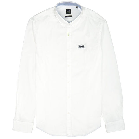 BOSS Athleisure Biado R Long Sleeved Shirt in White Shirts BOSS
